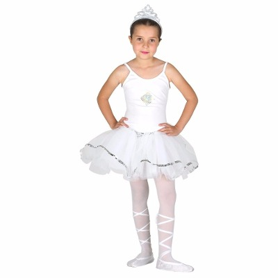 Fantasia de bailarina branca, com meia calça.