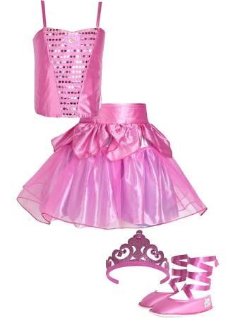 Fantasia de bailarina rosa, com sapatilhas e coroa.