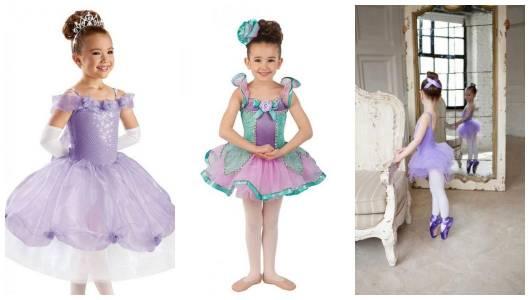 Montagem com três fantasias de bailarina diferentes.