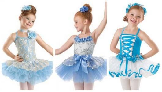 Montagem com fantasias de bailarina azuis.