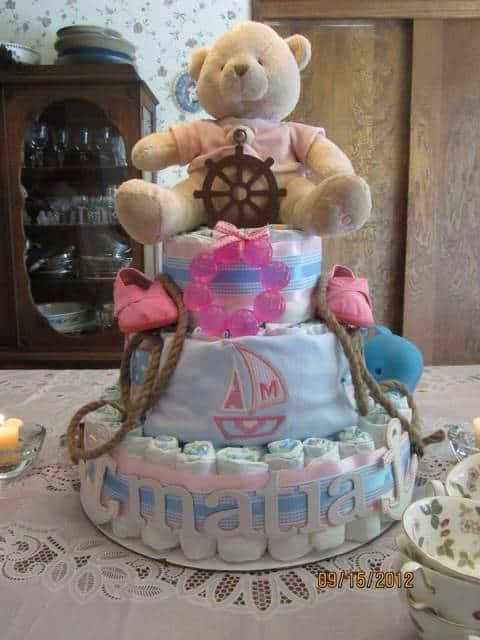 Bolo de Fraldas Marinheiro com urso rosa