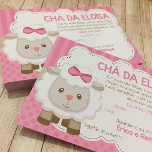 Convite cartão chá de menina ovelhinha