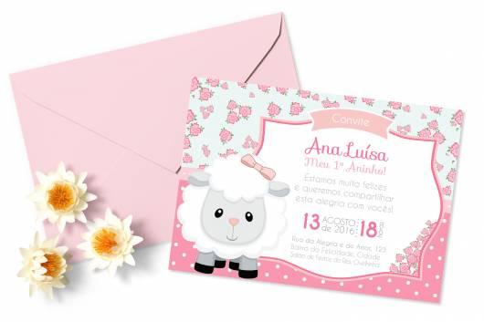 convite ovelhinha com envelope