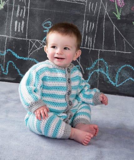 macacão de crochê para bebê duas cores