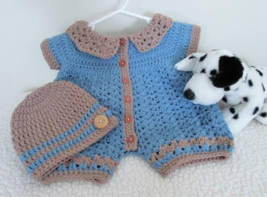 macacão de crochê para bebê com chapéu para inverno