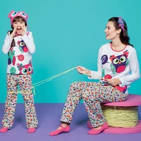 Pijama tal mãe tal filha corujinha rosa e roxa
