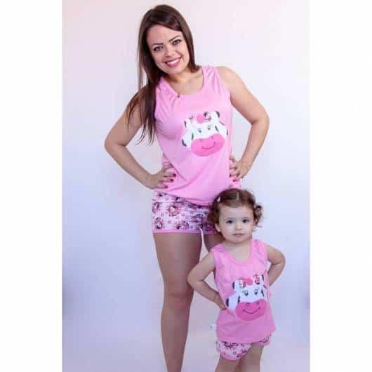 Pijama tal mãe tal filha estampa de vaquinha