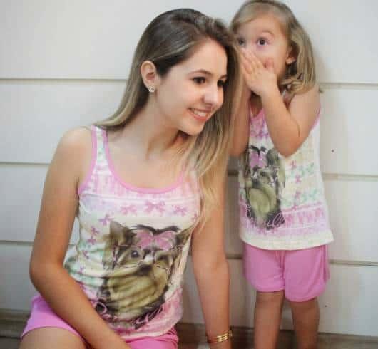 Pijama tal mãe tal filha estampa de cachorrinho
