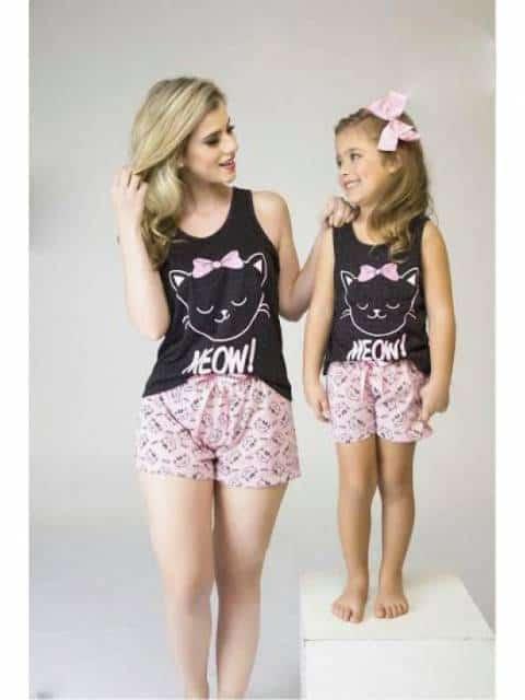 Pijama tal mãe tal filha estampa de gatinho