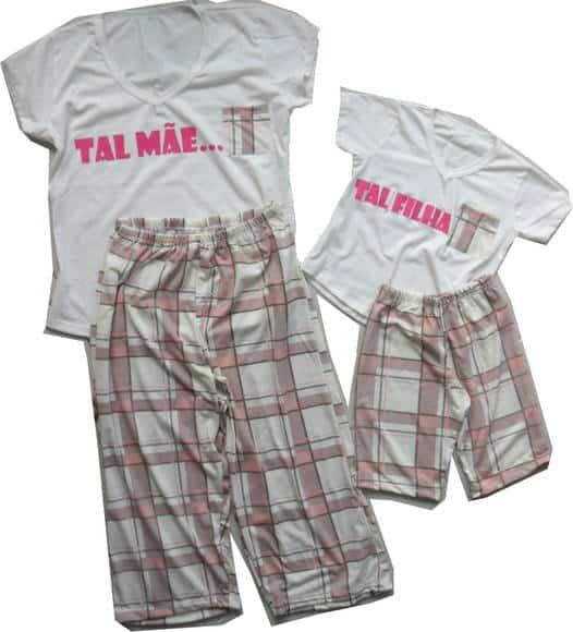 Pijama tal mãe tal filha branco com xadrez