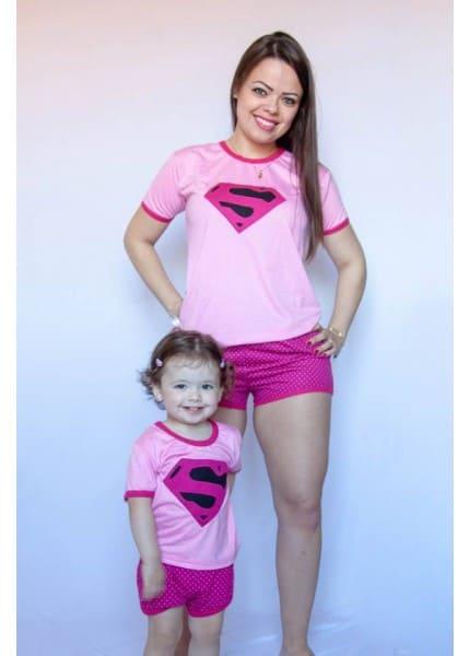 Pijama tal mãe tal filha estampa Supergirl