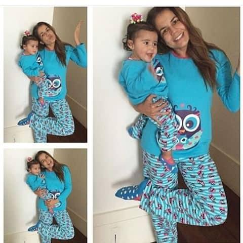 Pijama tal mãe tal filha estampa de corujinha