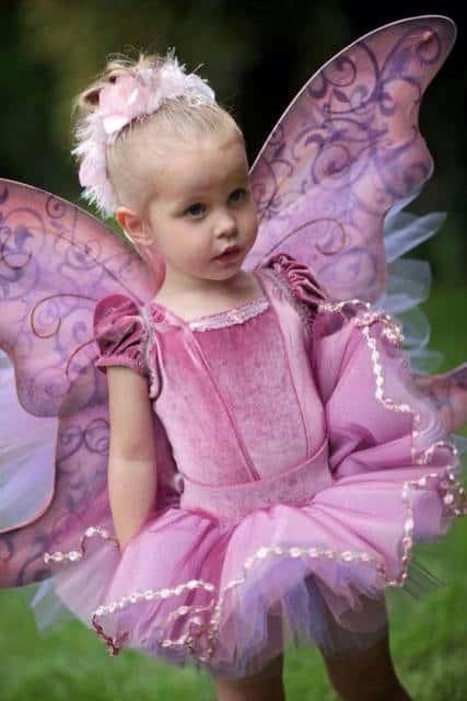 fantasia de fada infantil rosa com collant de veludo