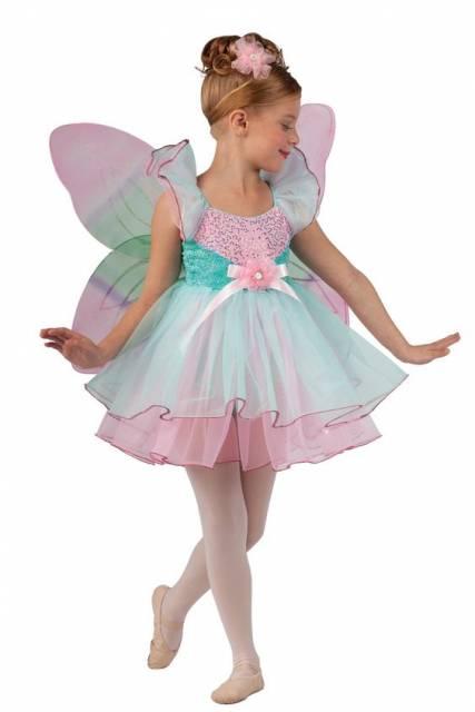 fantasia de fada infantil rosa e verde com visual de bailarina