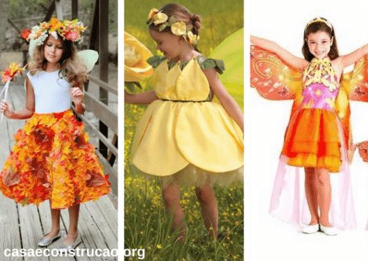 fantasias de fada infantil laranjas e amarelas com flores