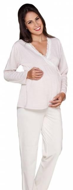 conjunto de pijama para gestante de manga comprida e calça