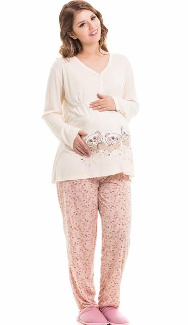 conjunto de pijama para gestante com calça estampada e manga longa