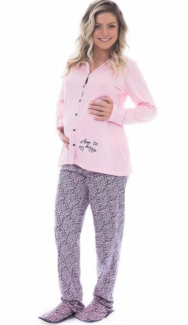 conjunto de pijama para gestante de manga longa e calça estampada rosa