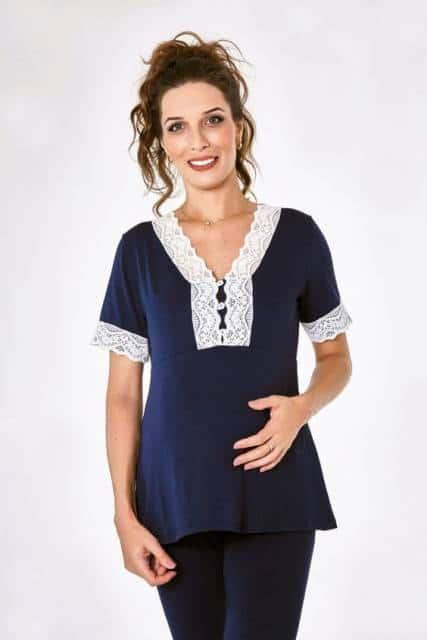 conjunto azul marinho de pijama para gestante com camiseta de maga curta com calça