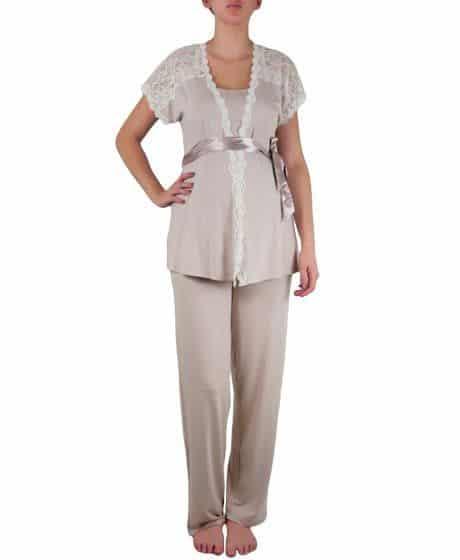 conjunto de pijama para gestante de camiseta curta com calça com fita na cintura