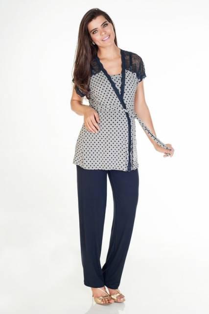 conjunto azul marinho de pijama para gestante de manga curta com calça