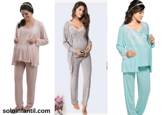 conjuntos de pijama para gestante de calça e camiseta com robe