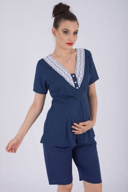 conjunto de pijama para gestante de shorts azul marinho