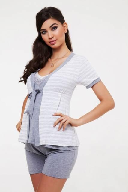 conjunto de pijama para gestante de shorts cinza com casaquinho por cima