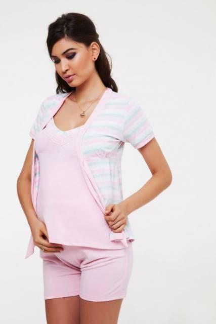 conjunto de pijama para gestante de shorts rosa com casaquinho em cima