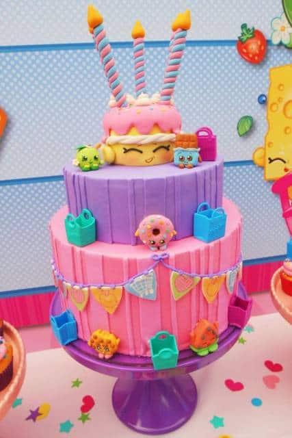 bolo três andares Festa Shopkins