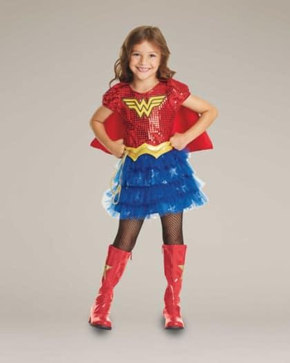 Fantasia Mulher Maravilha Infantil com meia calça e botas