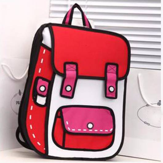 mochila rosa e vermelha