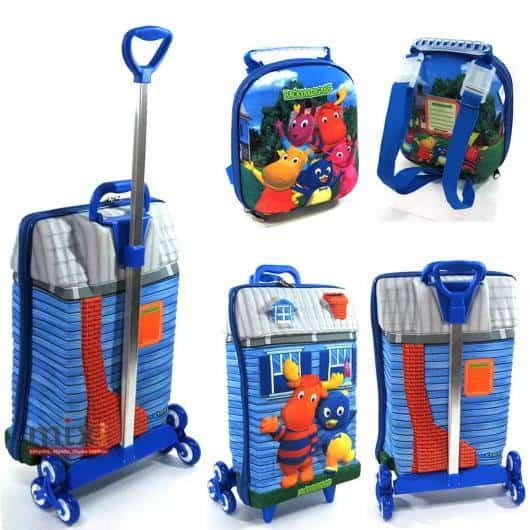mochila infantil com lancheira com carrinho