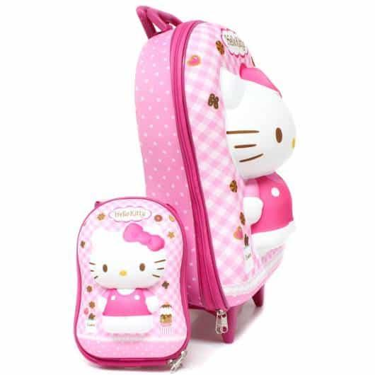 mochila infantil com lancheira da Hello Kitty