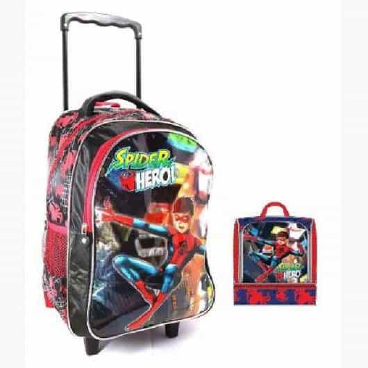 mochila infantil com lancheira de super herói