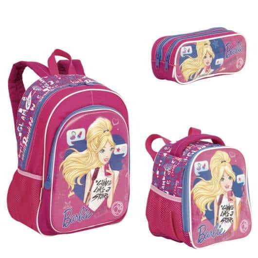 mochila infantil com lancheira da barbie