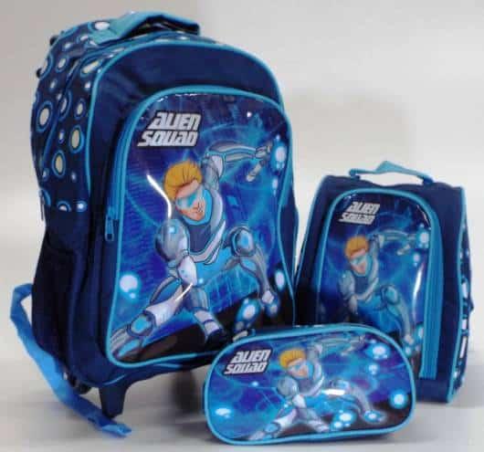 mochila infantil com lancheira do squad man