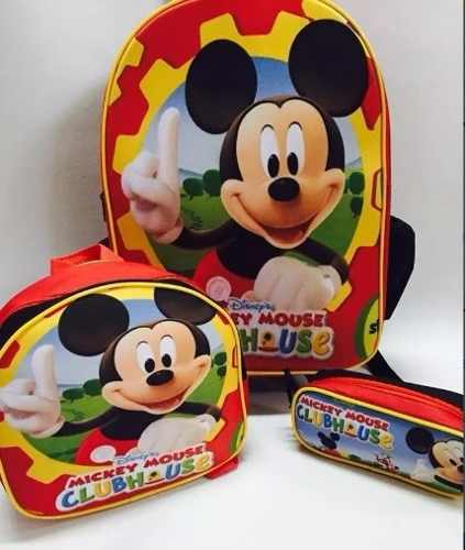 mochila infantil com lancheira do Mickey