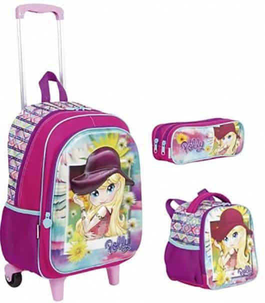 mochila infantil com lancheira da Polly