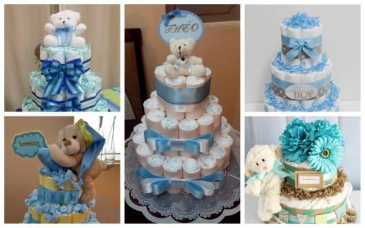 bolo de fraldas azul chá de bebê