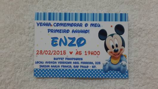 Convite do mickey baby.