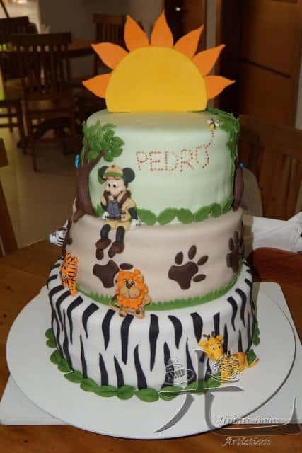 festa mickey safari bolo