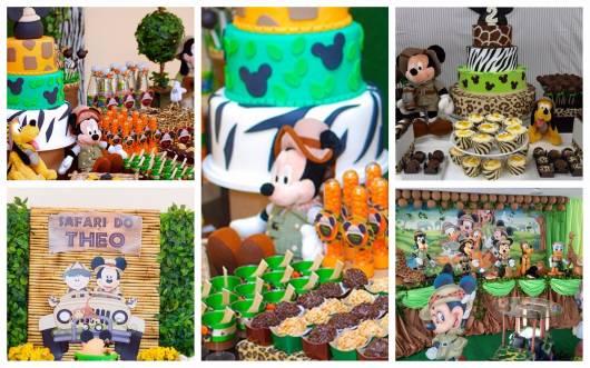 festa mickey safari tipos de decoração