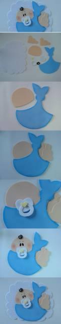 Montagem com passo a passo de lembrancinhas de chá de bebê em EVA.