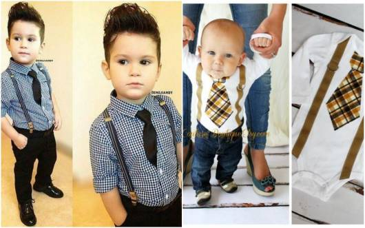 Bebês com roupa social para festa.