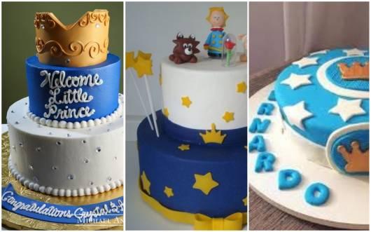Três tipos de bolo príncipe decorado.
