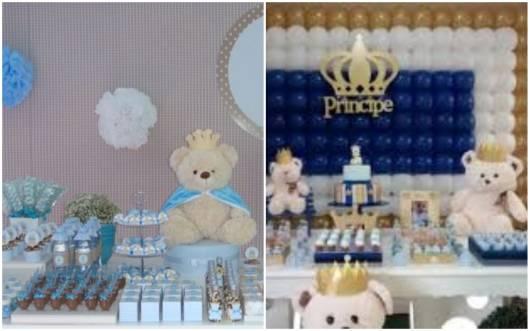 Festa príncipe com ursinho na decoração.