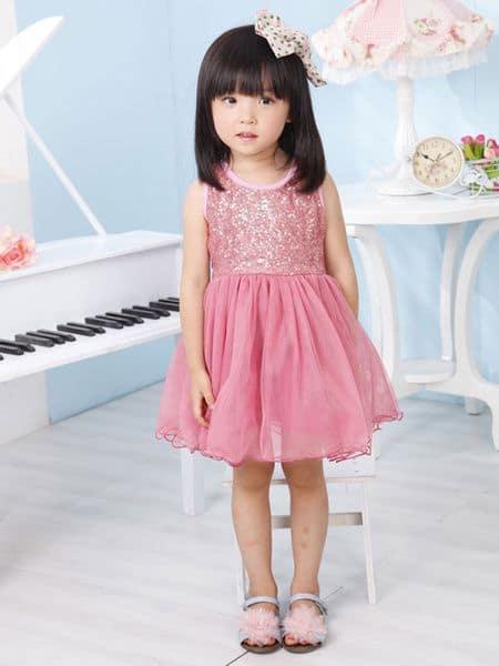 look infantil feminino vestido rosa com brilho