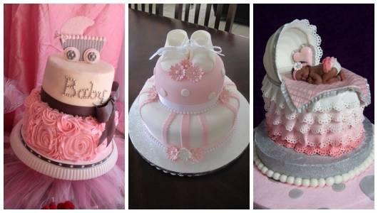Montagem com três bolos de ideias para chá de bebê.