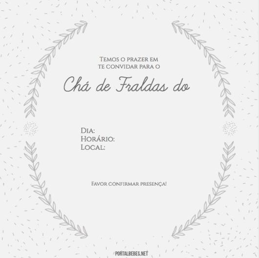Convite branco com detalhes em preto.